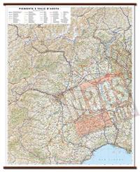 mappa Piemonte, Valle d'Aosta murale con eleganti aste in legno cartografia dettagliata ed aggiornata 86 x 108 cm