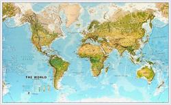mappa Planisfero Fisico e Ambientale Laminato cartografia molto dettagliata aggiornata 200 x 120 cm