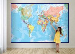 mappa murale Planisfero fisico-politico per bambini - grande formato, in 2 fogli, dimensione totale 232 x 158 cm