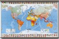 mappa murale Planisfero Fisico-Politico, con bandiere, plastificato 144x100cm