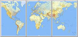 mappa Planisfero Fisico e Politico in 3 fogli plastificati, dimensione totale 289 x 143 cm adatto per l'arredamento di casa, studio