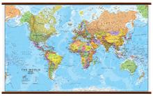 mappa Planisfero Fisico Politico, e Laminato con cartografia molto dettagliata aggiornata, eleganti aste in legno ganci acciaio, facile da applicare a parete 200 x 125 cm