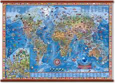 mappa murale Planisfero illustrato 138 x 89 cm - Plastificato e Laminato con Aste in Legno