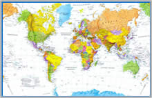 mappa murale Planisfero Magnetico XL - 215 x 135 cm - su pannello in metallo (scrivibile o per l'applicazione di calamite) con cornice + kit lavagna magnetica