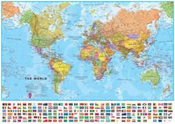 mappa murale Planisfero - mappa murale del mondo con bandiere e cartografia di alta qualità - 70 x 50 cm - ultima edizione aggiornata