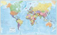 mappa murale Planisfero su pannello in legno - con cartografia fisico-politica, aggiornata e dettagliata - 135 x 84 cm - edizione 2015