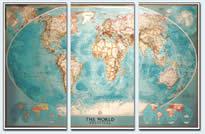 mappa murale Planisfero Politico in 3 fogli, 285x195cm