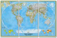 mappa murale Planisfero Politico in 3 fogli, Grande Formato 285 x 195 cm - adatto per l'arredamento di casa, studio e ufficio - elegante ed aggiornato