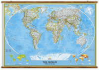 mappa Planisfero Politico, e Laminato cartografia molto dettagliata, con eleganti aste in legno ganci acciaio, facile da applicare a parete 190 x 128 cm