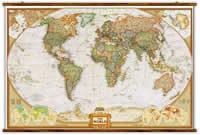 mappa Planisfero in stile Antico con Stati moderni, e Laminato elegante, aggiornato, aste legno ganci acciaio, facile da applicare parete 124 x 80 cm