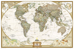 mappa Planisfero in stile Antico con Stati moderni, politico, carta 186 x 125 cm