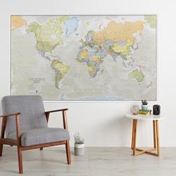 mappa murale Planisfero in stile vintage - plastificato - 200 x 120 cm - edizione 2019