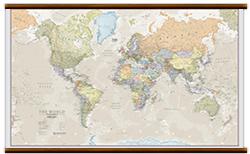 mappa Planisfero in stile vintage 205 x 125 cm con eleganti aste legno e ganci acciaio, facile da applicare a parete
