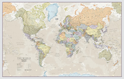 mappa Planisfero in stile vintage stampato su un unico foglio carta 120 x 85 cm