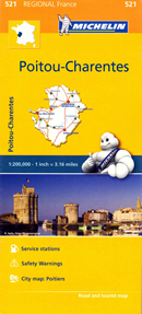 mappa n. 521 Poitou Charentes con Poitiers, Châtellerault, Montmorillon, Parthenay, Bressuire, Niort, Confolens, Angoulême, Cognac, Jonzac, Saintes, Saint Jean d'Angély, Rochefort, La Rochelle, Ile d'Oléron, de Ré stradale stazioni di servizio e autovelox