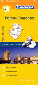 mappa stradale n. 521 - Poitou-Charentes - con Poitiers, Châtellerault, Montmorillon, Parthenay, Bressuire, Niort, Confolens, Angoulême, Cognac, Jonzac, Saintes, Saint-Jean-d'Angély, Rochefort, La Rochelle, Ile d'Oléron, Ile de Ré - mappa stradale con stazioni di servizio e autovelox - nuova edizione