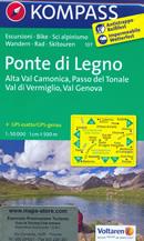 mappa n.107 Ponte di Legno, Alta Val Camonica, Passo del Tonale, Parco Nazionale Stelvio, Vezza, Gruppo Presanella, Mezzana, Peio, Naturale Adamello Brenta, Vermiglio, Genova plastificata, compatibile con GPS