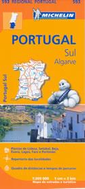 mappa stradale n.593 - Portogallo del Sud e Algarve - con Lisboa/Lisbona, Setubal, Evora, Beja, Lagos, Portimao, Faro, Sines - edizione 2013