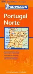 mappa stradale n.591 - Portogallo del Nord - con Braga, Porto, Aveiro, Viseu, Guarda, Miranda do Douro, Chaves