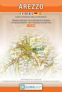 mappa Provincia di Arezzo con il Parco Nazionale Foreste Casentinesi, Monte Falterona, Campigna, Camaldoli, Bibbiena, Montefeltro, Vallombrosa, Sansepolcro, S. Savino, Sinalunga, Lago Trasimeno