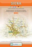 mappa Provincia di Siena con Chianti senese, Valdelsa, Val Chiana, d'Orcia, Monte Amiata