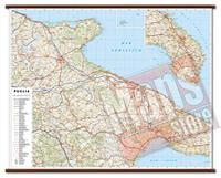 mappa Puglia murale con cartografia dettagliata ed aggiornata plastificata, eleganti aste in legno 108 x 86 cm 2020