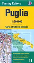 mappa Puglia stradale con distanze stradali, percorsi panoramici