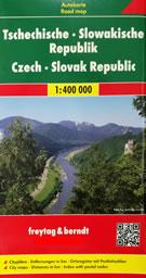 mappa Repubblica Ceca e Slovacca stradale con luoghi panoramici, distanze stradali, indice località 2020