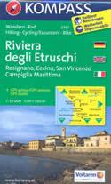 mappa topografica n.2461 - Riviera degli Etruschi - con Rosignano, Cecina, San Vincenzo, Campiglia Marittima, Bibbona, Sassa, Bolgheri, Serrazzano, Castagneto Carducci, Suvereto, Venturina - plastificata, compatibile con GPS