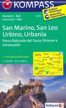 mappa n.2455 San Marino, Leo, Urbino, Urbania, Montefeltro, M. Carpegna, Cerignone, Sassocorvaro, Rimini, Parco Naturale del Sasso Simone e Simoncello plastificata, compatibile con GPS