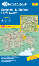 mappa topografica n.001 - Sappada, S.Stefano, Forni Avoltri - con Alpi Carniche, Val Visdende, Val Pesarina, Peralba, Sella di Razzo, S. Stefano di Cadore, M. Rinaldo, Terza Grande - reticolo UTM compatibile con GPS - EDIZIONE 2021