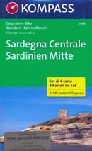 mappa n.2498 Sardegna set di 4 mappe escursionistiche con sentieri per il trekking e MTB compatibili GPS