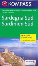 mappa n.2499 Sardegna del set di 4 mappe escursionistiche con sentieri per il trekking e MTB compatibili GPS 2017