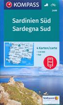 mappa n.2499 Sardegna del set di 4 mappe escursionistiche con sentieri per il trekking e MTB compatibili GPS 2018