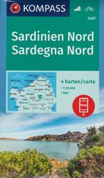 mappa n.2497 Sardegna del set di 4 mappe escursionistiche con sentieri per il trekking e MTB compatibili GPS