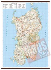 mappa Sardegna murale con cartografia dettagliata ed aggiornata plastificata, eleganti aste in legno 86 x 119 cm 2021