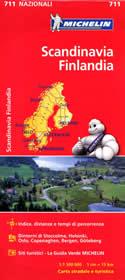 mappa stradale n.711 - Scandinavia - Danimarca, Norvegia, Svezia e Finlandia - con Stoccolma, Helsinki, Oslo, Kobenhavn, Bergen, Goeteborg