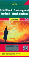 mappa stradale Scozia e Inghilterra del Nord - con Thurso, Aberdeen, Edinburgo/Edinburgh, Glasgow, Newcastle, Belfast - edizione 2019