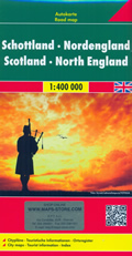 mappa Scozia e Inghilterra del con Thurso, Aberdeen, Edinburgo/Edinburgh, Glasgow, Newcastle, Belfast 2019