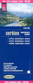 mappa Serbia, Montenegro e Kosovo con Podgorica, Dakovica, Prizren, Pristina, Skopje, Nis, Belgrado/Beograd, Subotica, Sombor impermeabile antistrappo