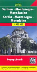 mappa Serbia, Montenegro, Macedonia, dell'Albania (con Tirana) stradale con luoghi panoramici, parchi e riserve naturali