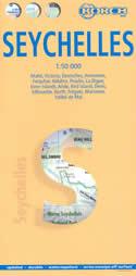mappa stradale Seychelles - con Mahé, Victoria, Desroches, Amirantes, Farquhar, Aldabra, Praslin, La Digue, Silhouette, North, Denis, Bird, Frégate, Aride, Inner Islands, Marianne, Valleé de Mai - mappa plastificata
