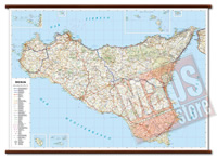 mappa Sicilia murale con cartografia dettagliata ed aggiornata plastificata, eleganti aste in legno 119 x 86 cm 2021