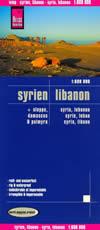 mappa Siria e Libano con Aleppo, Damasco Palmyra stradale impermeabile antistrappo