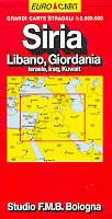 mappa stradale Siria, Libano, Giordania, Israele, Iraq, Kuwait - edizione 2013
