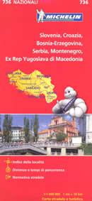 mappa stradale n.736 - Slovenia, Croazia, Bosnia Erzegovina, Serbia, Montenegro, Ex Rep. Yugoslava di Macedonia