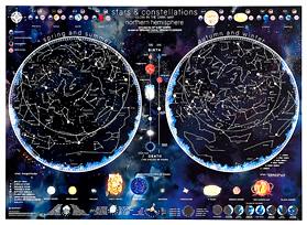 mappa Stelle e Costellazioni visibile al buio, con i due emisferi celesti australe boreale 85 x 60 cm