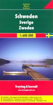 mappa stradale Svezia - con Stoccolma, Malmo, Goteborg, Sundsvall, Umea, Lulea, Kiruna