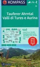 mappa n.82 Taufers, Ahrntal, Tures, Valle Aurina, Bruneck/Brunico, Fundres/Pfunders, Predoi/Prettau, Rasen/Rasun, Monte Lovello, Gran Pilastro, Antholz/Anterselva, Vintl/Vandoies plastificata, compatibile con GPS 2020