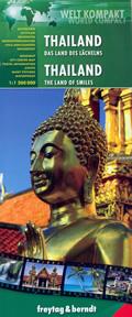 mappa Thailand (Thailandia / Tailandia) con Bangkok, Chiang Mai, Ubon Ratchathani, Phuket, Hat Yai, Ko Samui stradale spiagge, parchi naturali e luoghi panoramici impermeabile antistrappo
